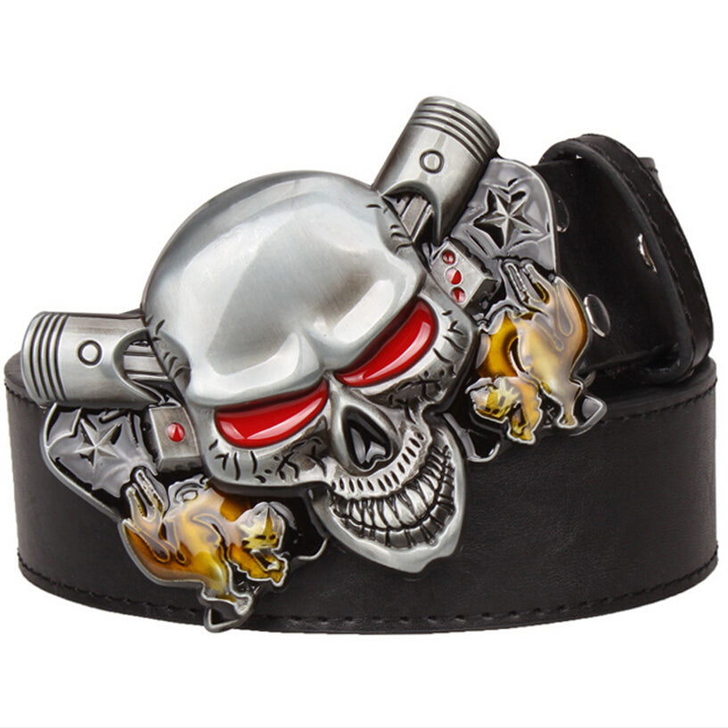 Wild exaggerated style belt Joker Poker metal buckle belts demon clown skull
