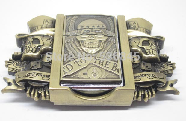 Skull Wear Hat Lighter Belt Buckle