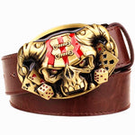 Joker Poker card metal buckle belts demon clown skull exaggerated style belt hip hop waistband