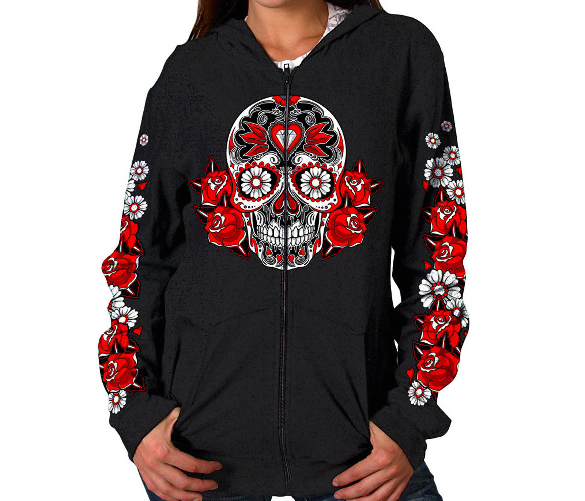 Hot Leathers Colored Sugar Skull Hooded Zip-Up Sweatshirt nice
