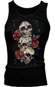 Three Skulls Roses Cross Web Jewel Floral Sugar Dead Dia Muertos Girls Tank Top