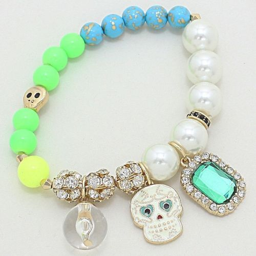 Day of the Dead Sugar Skull Bead Bracelet