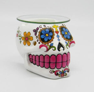 "4""x5"" Day Of the Dead Sugar Skull Oil Burner - White"