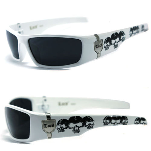 Discounted Mens Cholo Biker UV400 Sunglasses - White