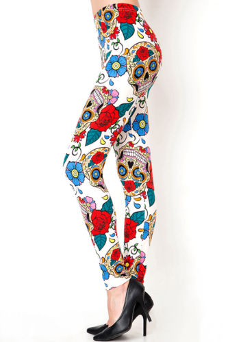 Floral Sugar Skull Print Women's Leggings Buttery Soft Comfy Stretch 1 Size J129
