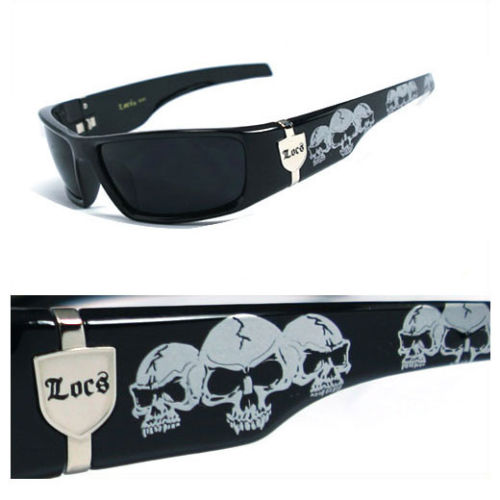 Mens Cholo Biker Sunglasses - Black (Skull)