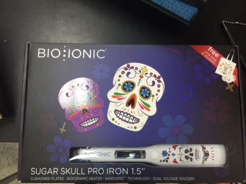 "Bio Ionic Sugar Skull Collection Pro Straightening Iron 1.5"" Ship to US only"