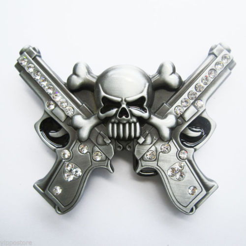 Rhinestones Skull With Gun Metal Fashion Belt Buckle