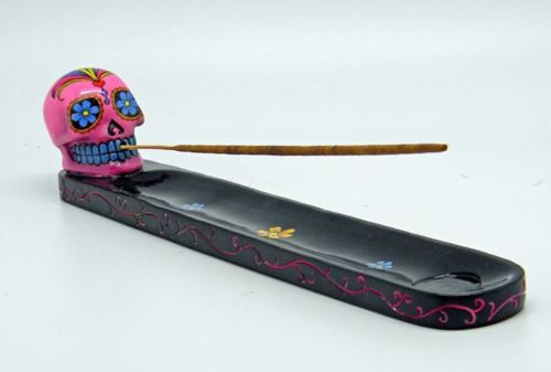Pink Day of the Dead Sugar Skull Mexican Dia De Los Muertos Incense Burner