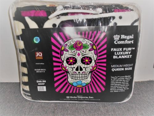 """Sugar Skull"" Officially Licensed Regal Comfort Medium Weight Blanket Queen Size"