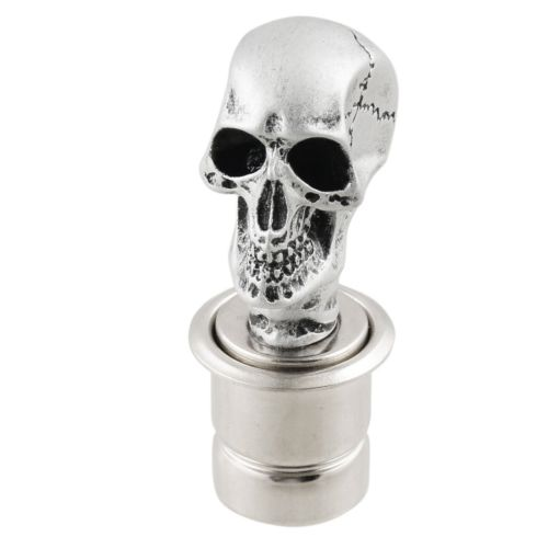 Car Silver Tone Skull Head Design Cigarette Lighter Plug DC 12V L8S6