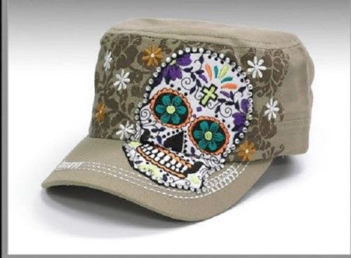 Sugar Skull  Khaki Hat Factory Distressed Cap Adjustable