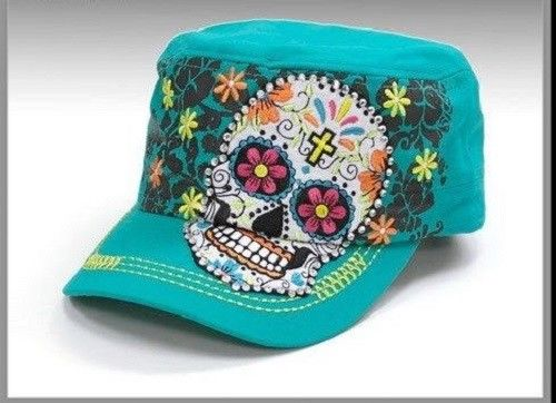 Sugar Skull  Blue Hat Factory Distressed Cap Adjustable