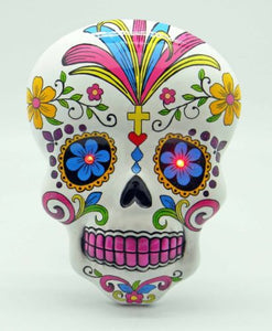 White Day of the Dead Sugar Skull Wall Plaque With LED Eyes Dia De Los Muertos