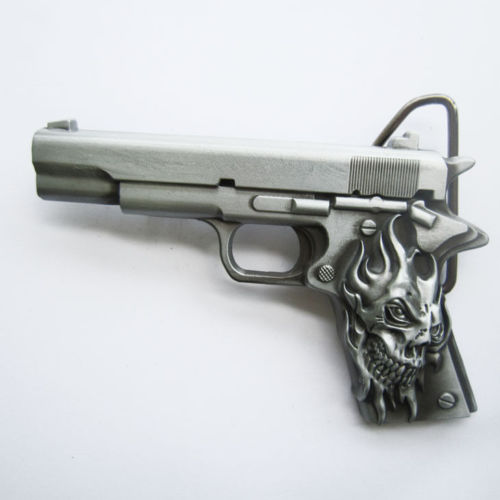 Skull Tattoo Hand Gun Metal Fashion Belt Buckle