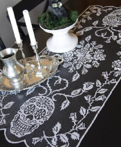 "Heritage Lace  Pewter Black SUGAR SKULLS Table Runner - 18"" x 44"" - Halloween"