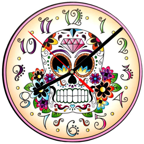 "8"" WALL CLOCK Sugar Skull 19 Dia de los Muertos Day of the Dead Halloween Tattoo"