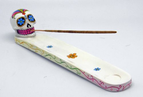White Day of the Dead Sugar Skull Mexican Dia De Los Muertos Incense Burner