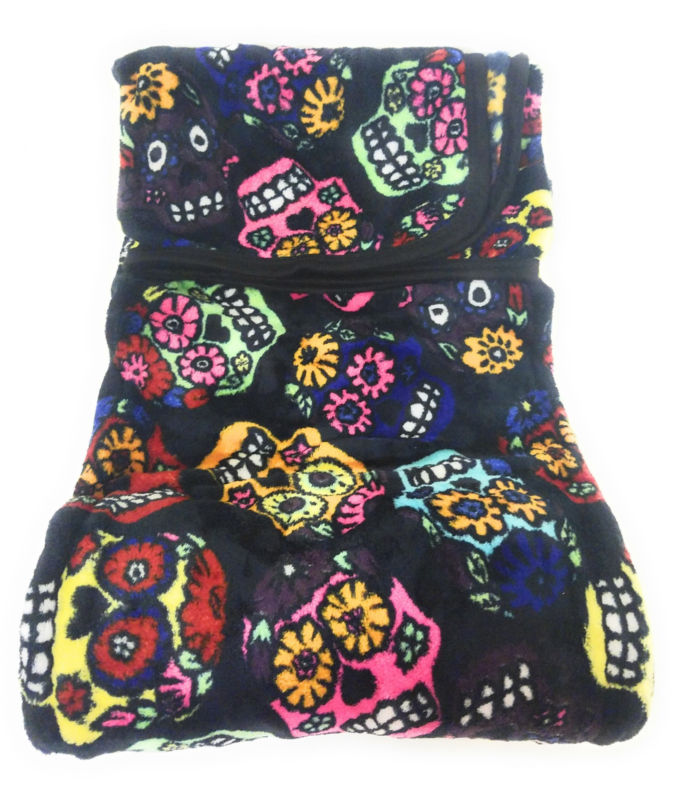 Sugar Skull Flower Day of Dead Stadium Picnic Camping Soft Throw Blanket Black