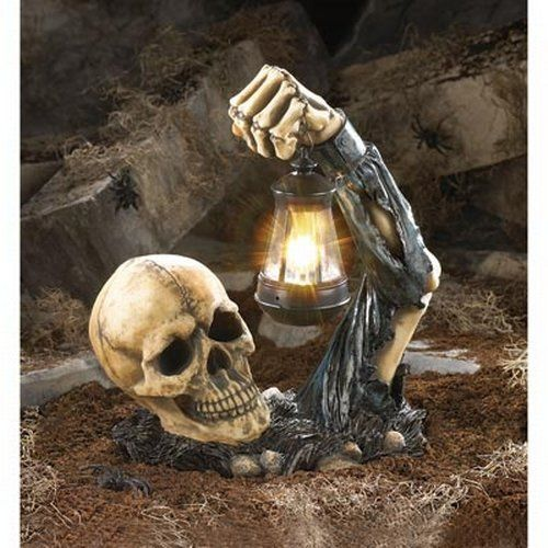 Sinister Skull With Lantern Outdoor Garden Halloween Skeleton Prop Spooky Decor