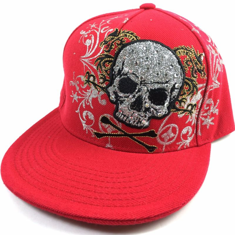 Bling Sugar Skull Dragon Embroidered Flat Fitted Sport Hat Cap Bill Red White