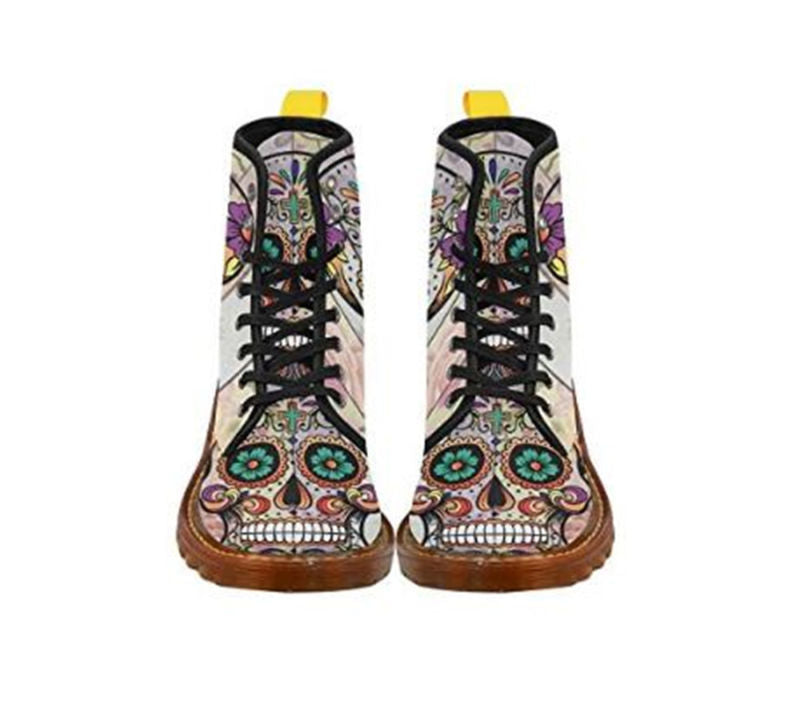 Women's Shoes Lace Up Boots Sugar Skull on Flower Martin Boots Ankle Boot