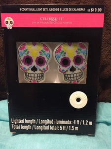 8 Count Sugar Skull Day Of The Dead Battery Operated Light Set