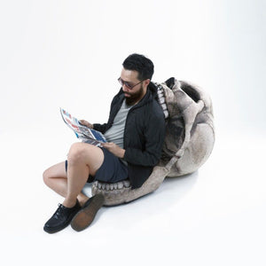 Inflatable Skull Chair, Movable Jaw Knitted Fabric Design