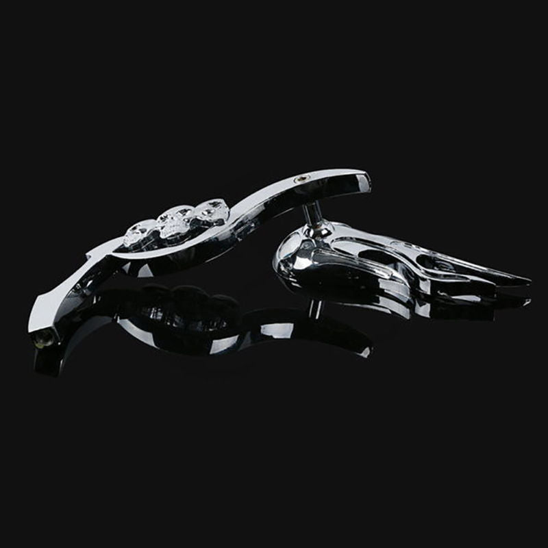 Aluminum Flame Shape Skull Pattern Rearview Mirrors for Harley Motorcycle Decor