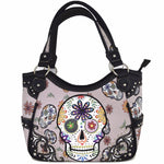 Set of 2 - Sugar Skull Handbag Women's Totes Shoulder Bag