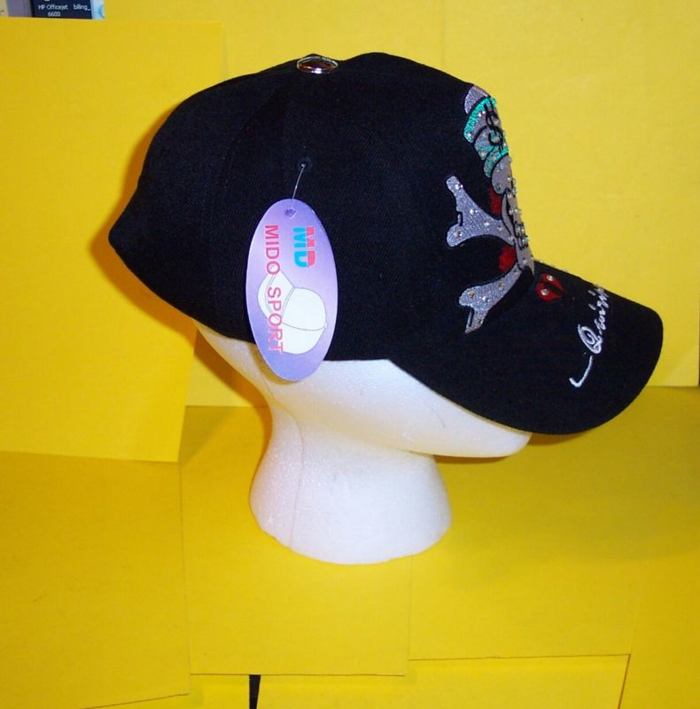 SKULL with RHINESTONES  BLACK  QUIRINUS  CAP /  HAT NEW with TAGS