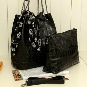 2pcs Fashion Women Leather Skull Handbag Shoulder Crossbody Messenger Bag Purse