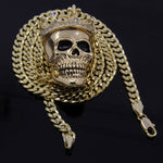 "Men's Gold Plated King Head Skull Pendant 24"" Cuban Chain Hip-Hop Necklace"
