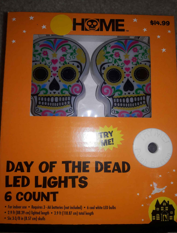 Day of the Dead Sugar Skull String of 6 LED Lights Bedroom Wall Decor Girl's NEW