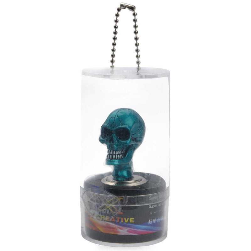 Cool Skull Head Style Car Cigarette Lighter Resin - Blue (DC 12V)
