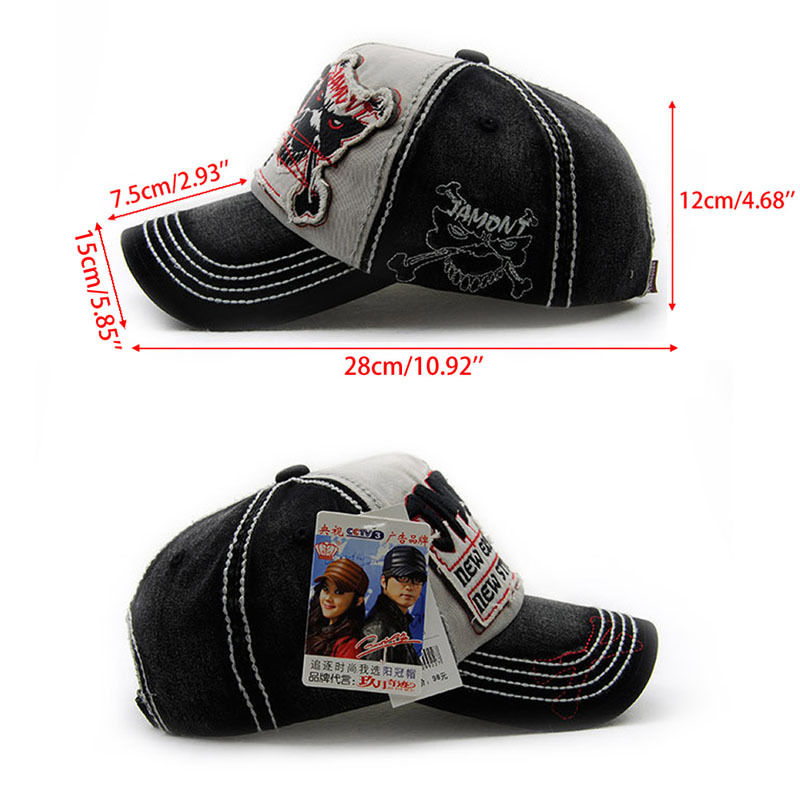 Men Women Black Baseball Cap Snapback Skull Hat Hip-Hop Adjustable Bboy Cap