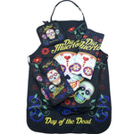 Day of the Dead Sugar Skull Kitchen Apron Set - Created for Baking, Grilling,