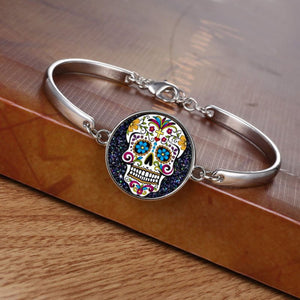 Art Gothic Bracelet Wristband Skull Bangle Glass Flower Sugar Silver Plated