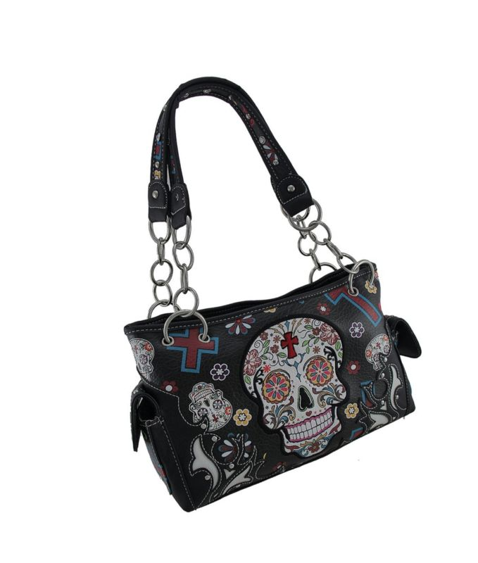 Sugar Skull Purse with Concealed Carry Pocket Day of The Dead Handbag Black