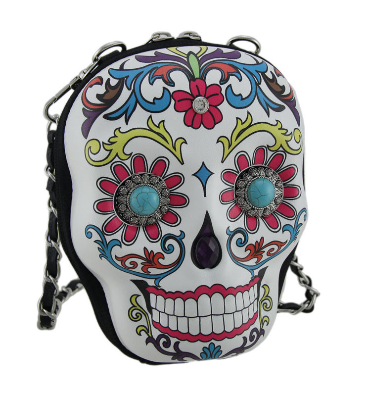 Zeckos Western Sugar Skull Decorated Molded Skull Purse w/Removable Strap