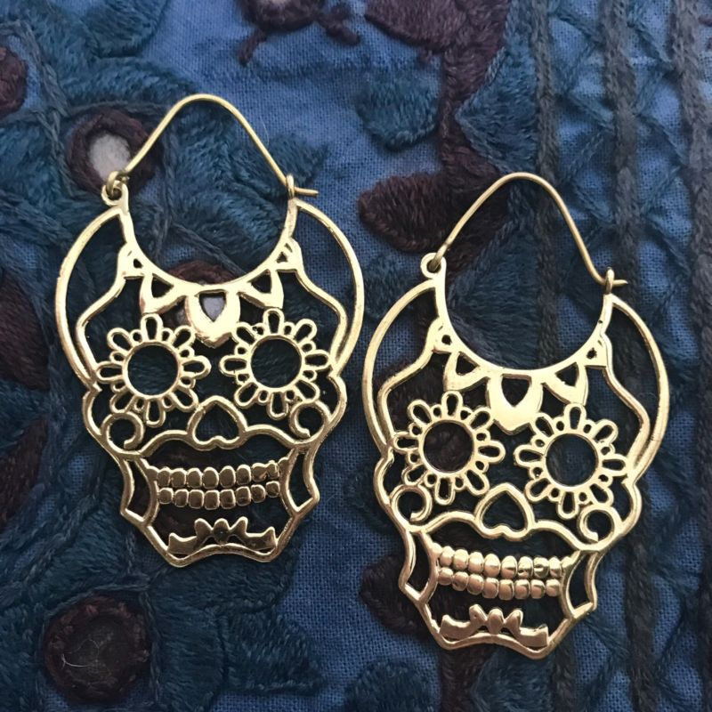 Sugar Skull Hoop Earrings in Brass