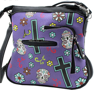 Purple Sugar Skull  Concealed Carry Handgun Messenger Bag/Purse