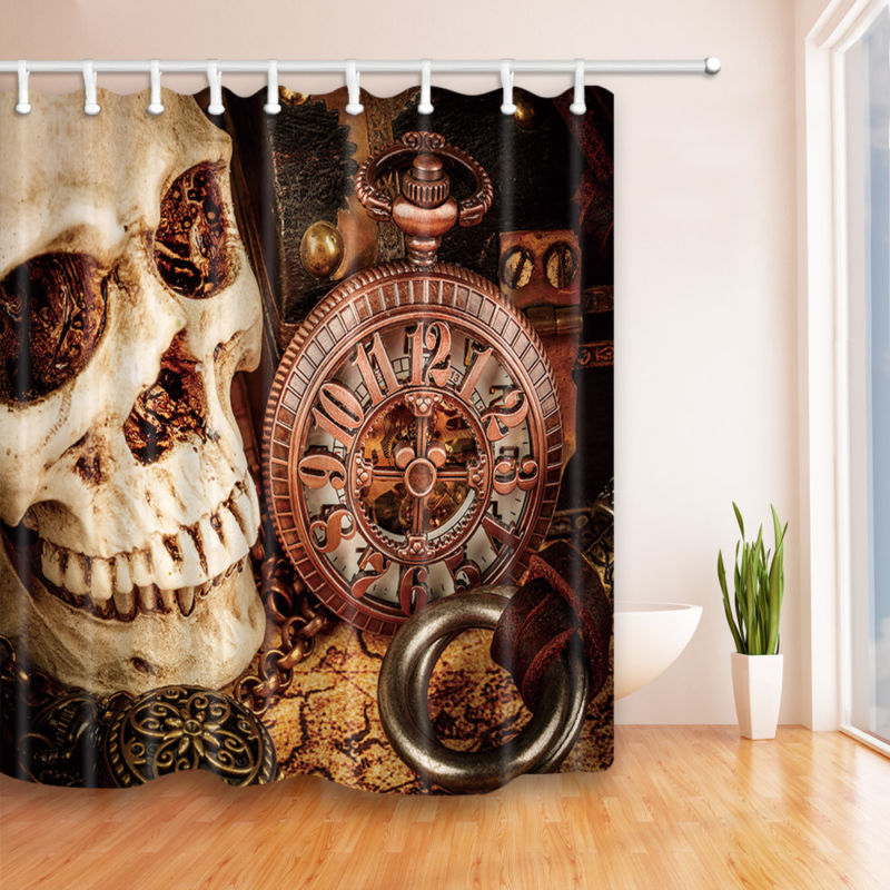 Skull and Old Clock Shower Curtain Home Bathroom Decor Fabric w/12 Hooks 71*71in