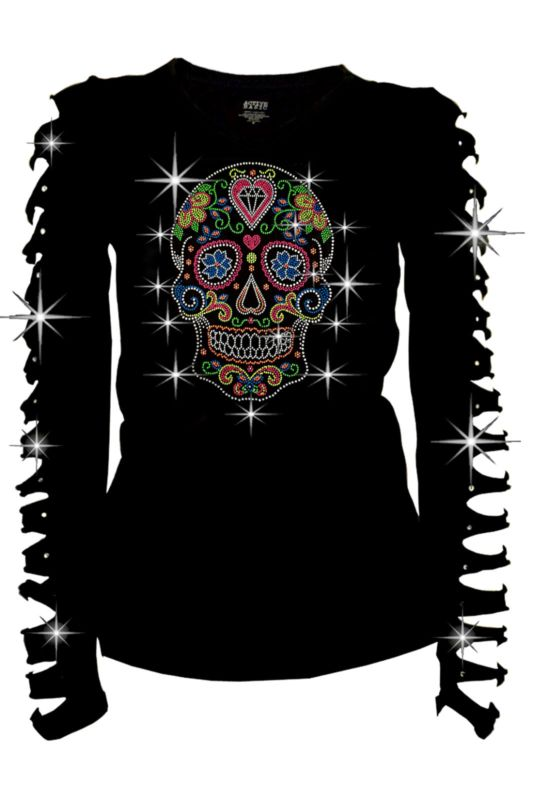 Bling Bling Sugar Skull Rhinestone T-Shirt,Heart & Neon Studs Junior  S~3XL Long