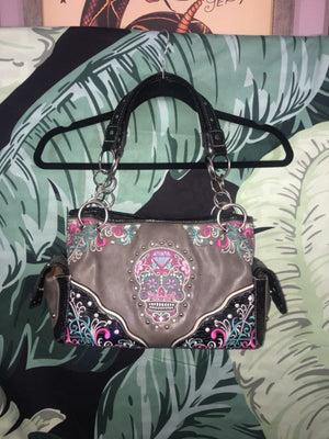 Sugar Skull Pink Blue Embellished Studded Rhinestone Purse Shoulder Bag Handbag
