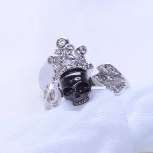 Sapphire Zircon Black Gold Filled Punk Skull Demon Women's 925 Silver Ring