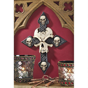 Gothic Cracked Skull Cross Fleeting Mortality Halloween Decor Wall Sculpture