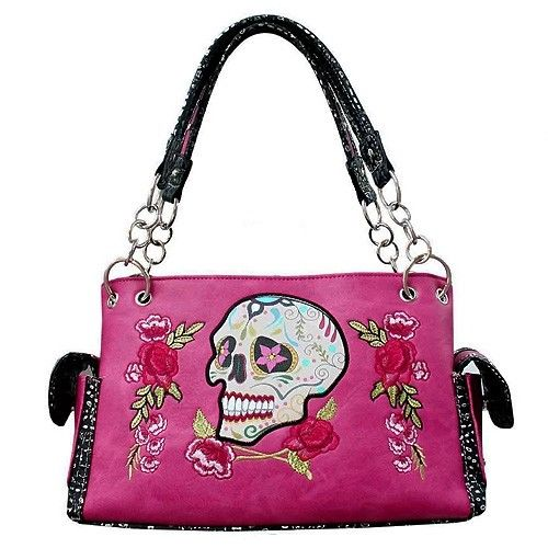 Sugar Candy Skull Concealed Carry Weapon Shoulder Handbag Purse Western