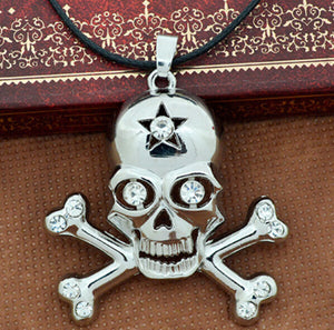 Men's Personalized Diamond Silver-Plated pirate Skull Pendant Chain Necklace