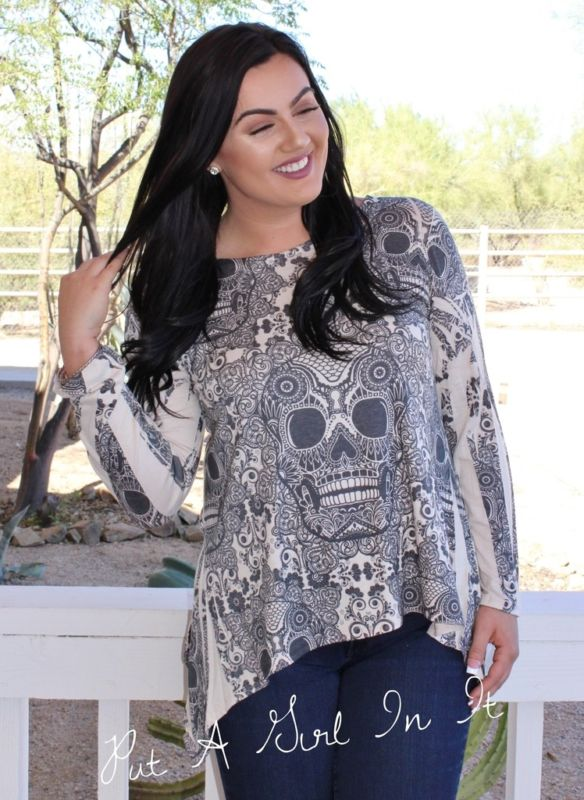 SUGAR SKULL SUBLIMATION SHARKBITE TUNIC SHIRT XL 1X 2X 3X